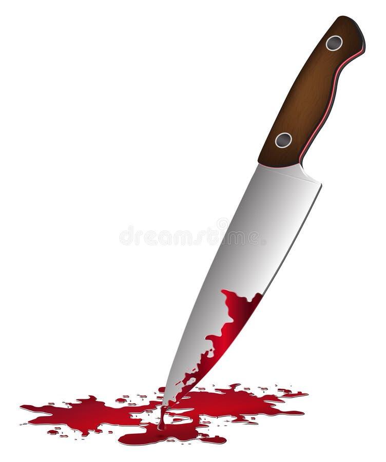 Realistiskt bloda ner kniven Kniv med blodvektorillustrationen vektor illustrationer