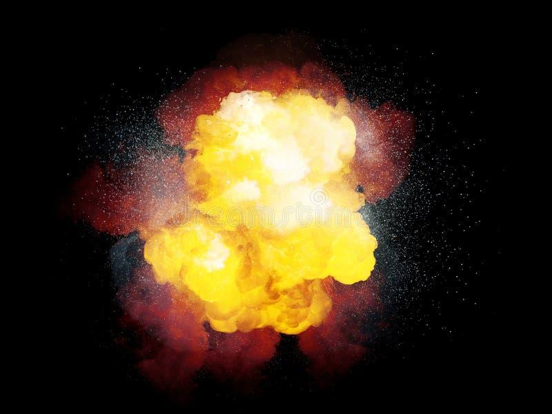 Realistiskt brännhett bombarderar explosion med vita gnistor och orange rök arkivbilder