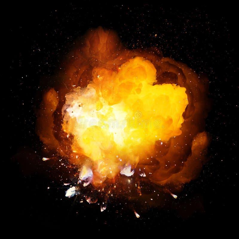 Realistiskt brännhett bombarderar ljus explosion med gnistor och röker fotografering för bildbyråer
