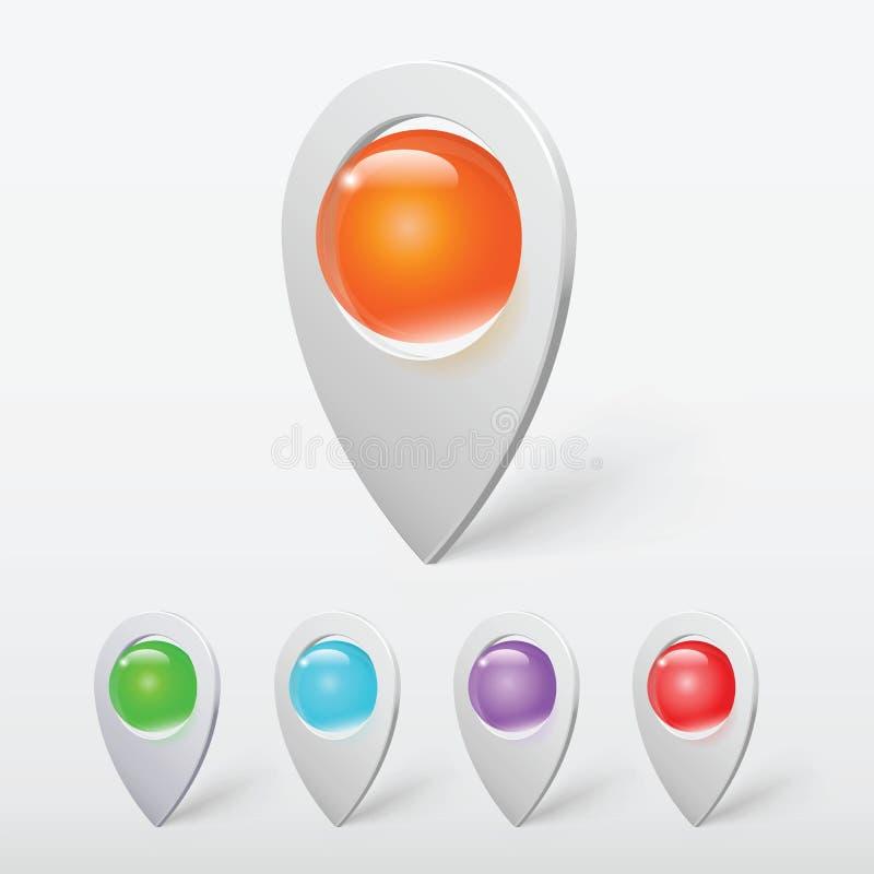 Realistiskt Crystal Ball Colorful Pointers eller ben royaltyfri illustrationer