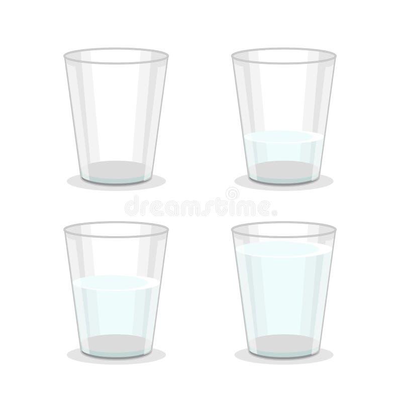 Realistiskt detaljerat 3d-glas vattenuppsättning Vector vektor illustrationer
