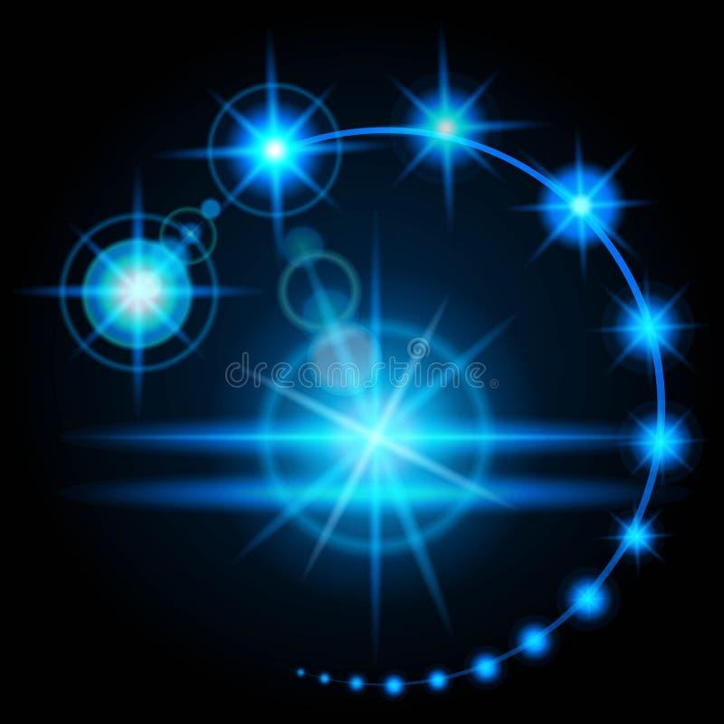 Realistiskt effektsignalljusglöd, ljusstyrkan av den konstgjorda ljusa källan Energin för elektrisk urladdning vektor royaltyfri illustrationer