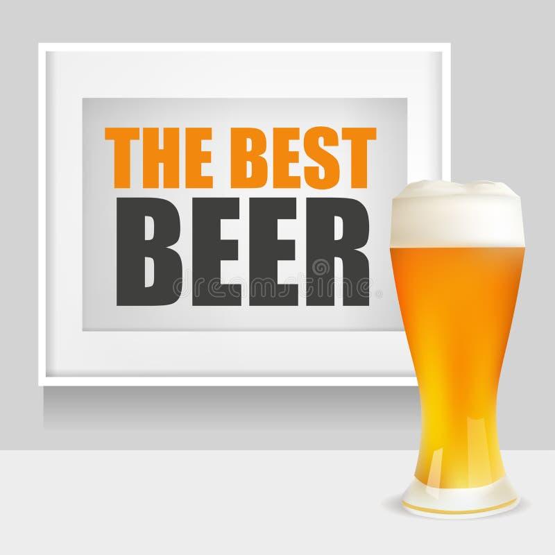 Realistiskt exponeringsglas av öl och ramen med den bästa öltexten också vektor för coreldrawillustration royaltyfri illustrationer