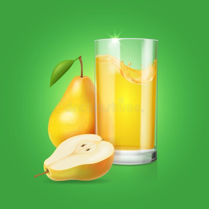 Realistiskt exponeringsglas av päronfruktfruktsaft solated på grön bakgrundsillustration stock illustrationer