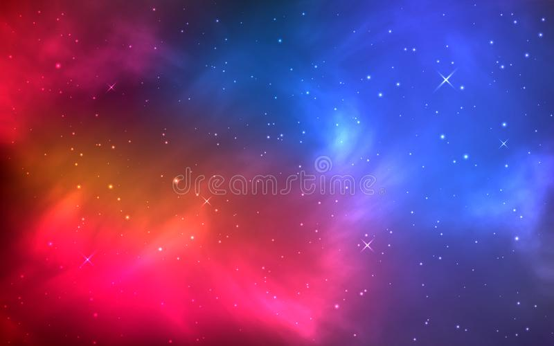 Realistiskt färgutrymme med nebulosan och skinande stjärnor Ljust kosmos med galaxen och den mjölkaktiga vägen Oändligt universum stock illustrationer