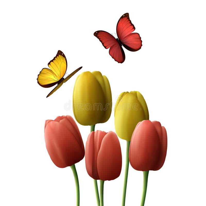 Realistiskt för blommatulpan som isoleras på vit bakgrund stock illustrationer