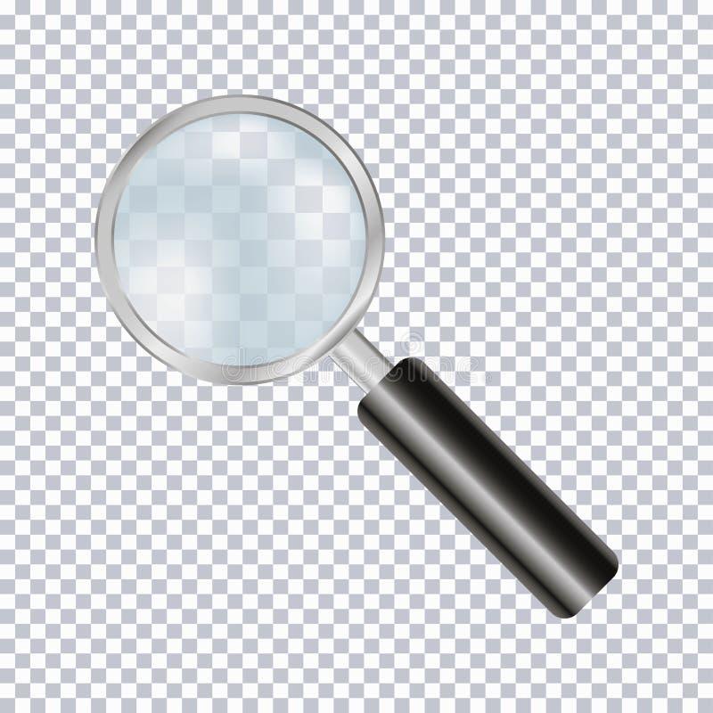 Realistiskt för förstoringsglas som isoleras på genomskinlig bakgrund vektor stock illustrationer