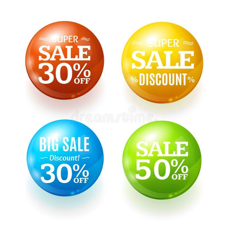 Realistiskt för rabattfärg för 3d Sale emblem Pin Set för knapp för cirkel vektor vektor illustrationer