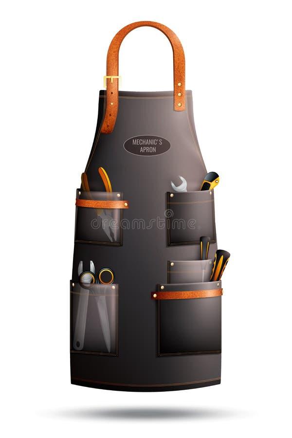 Realistiskt förkläde för mekaniker stock illustrationer