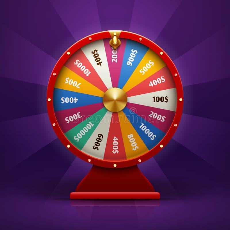 Realistiskt förmögenhethjul för snurr 3d, lycklig roulettvektorillustration stock illustrationer