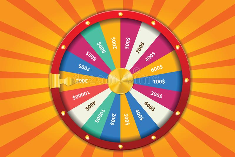 Realistiskt förmögenhethjul för snurr 3d, lycklig roulettvektorillustration royaltyfri illustrationer