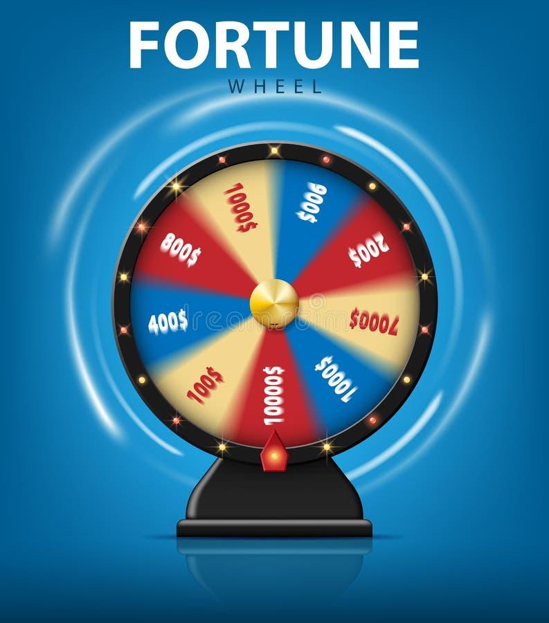 Realistiskt förmögenhethjul för snurr 3d på blå bakgrund Lycklig roulett för online-kasino också vektor för coreldrawillustration royaltyfri illustrationer