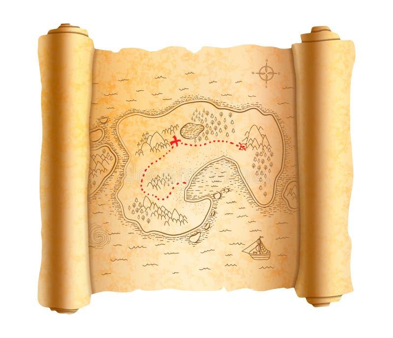 Realistiskt forntida piratkopierar översikten av ön på gammal snirkel med den röda banan för att uppskatta stock illustrationer