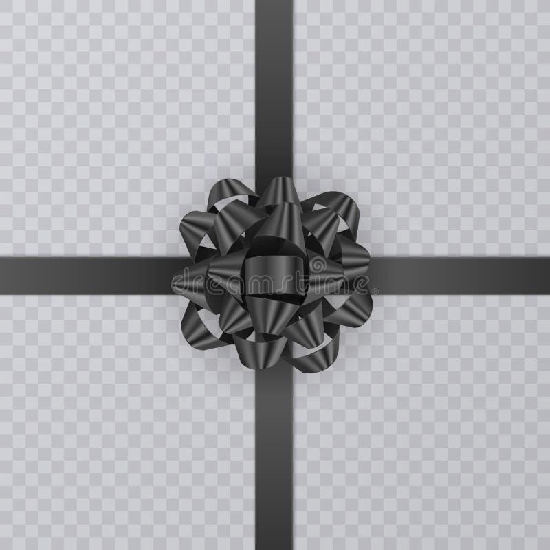 Realistiskt gåvaband, svart pilbåge av på genomskinlig bakgrund Gåvabeståndsdel för kortdesign Feriebakgrund, vektor royaltyfri illustrationer