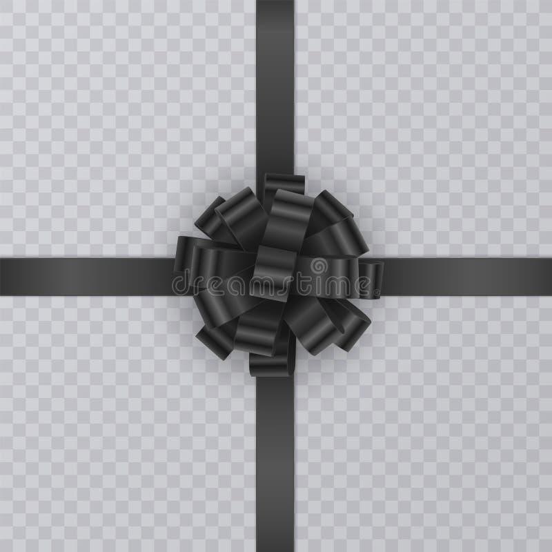 Realistiskt gåvaband, svart pilbåge av på genomskinlig bakgrund Gåvabeståndsdel för kortdesign Feriebakgrund, vektor stock illustrationer