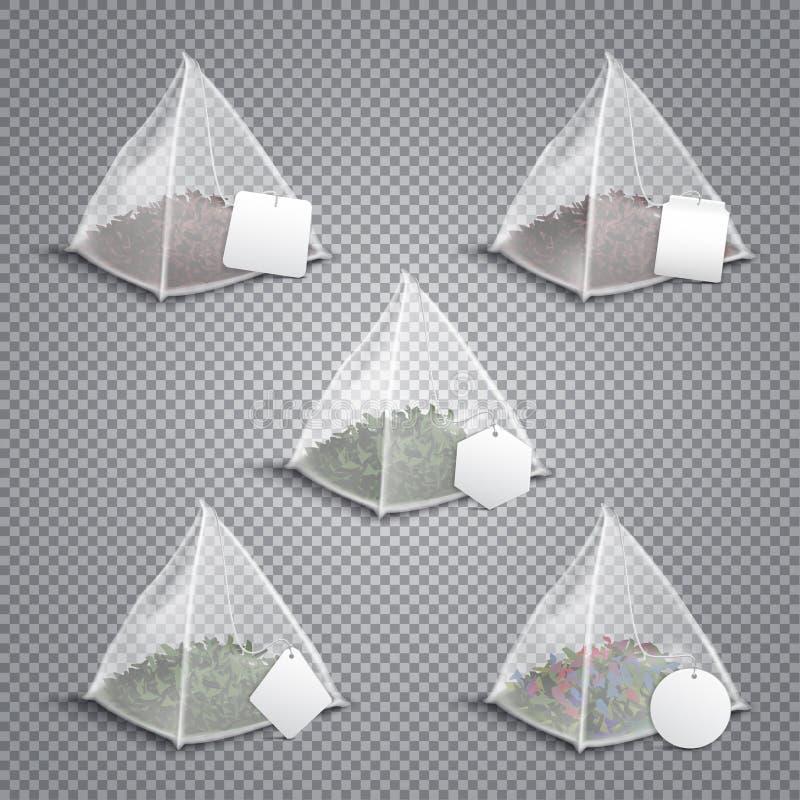 Realistiskt genomskinligt för pyramidtepåsar stock illustrationer