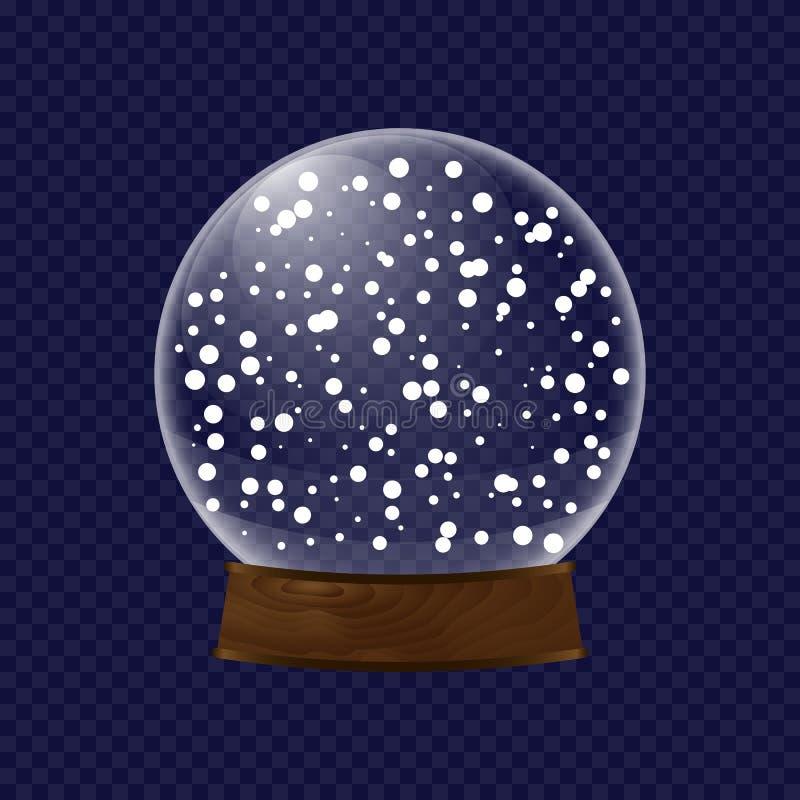 Realistiskt genomskinligt snöjordklot vektor illustrationer