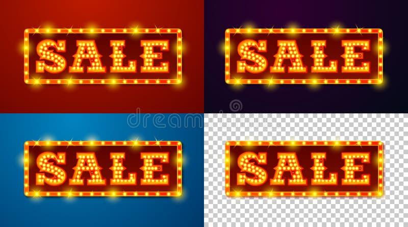 Realistiskt glödande SALE för vektor tecken med lampor stock illustrationer