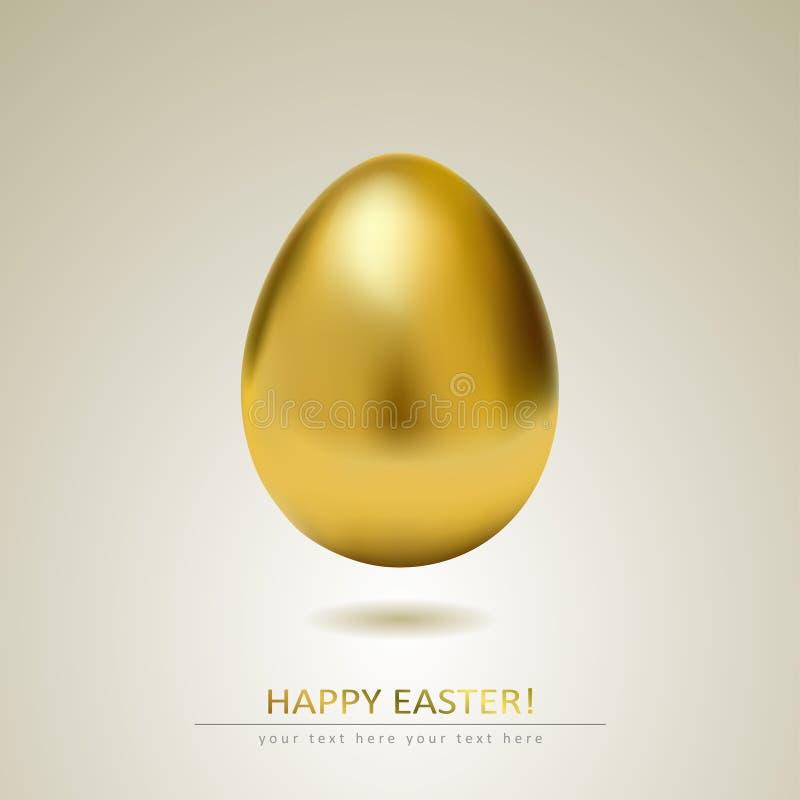 Realistiskt guld- ägg på vit bakgrund vektor illustrationer