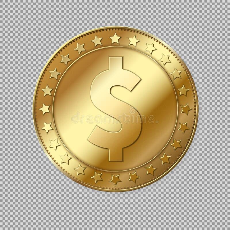 Realistiskt guld- mynt för dollar 3d stock illustrationer