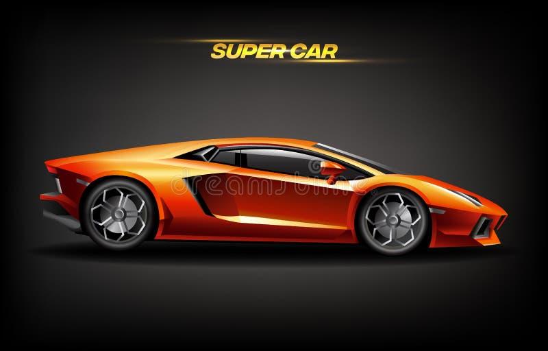 Realistiskt guld- toppet bildesignbegrepp, ljus orange guld- lyxig bilsupercar vektor illustrationer