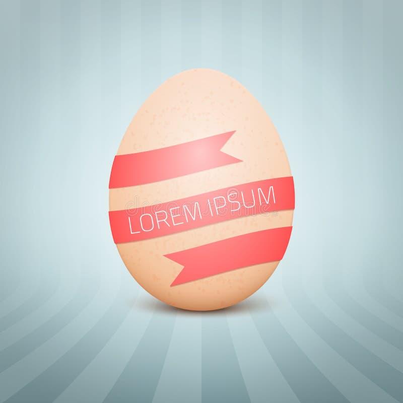 Realistiskt gult ägg för vektor på abstrakt bakgrund ägg för höna 3D med det röda bandet stock illustrationer