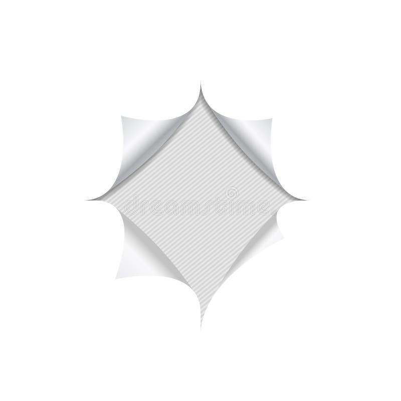 Realistiskt hål i vitt anmärkningspapper på fodrad grå bakgrund stock illustrationer