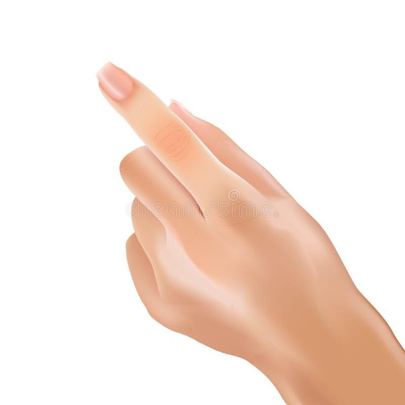 Realistiskt handkvinnapekfinger som pekar handlag vektor illustrationer