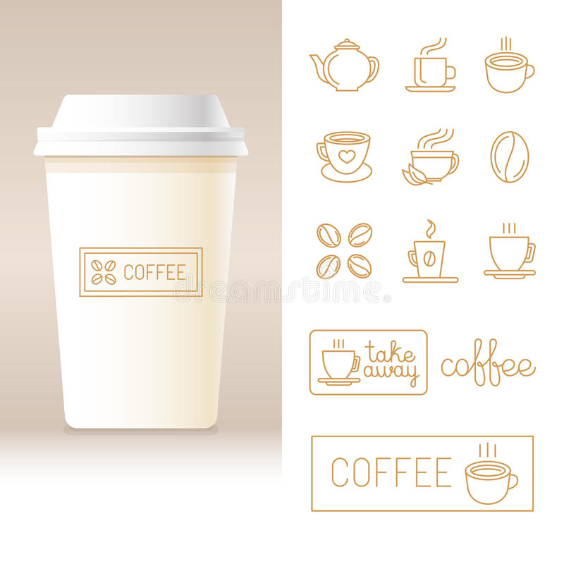 Realistiskt kaffe för vektor som går koppmall royaltyfri illustrationer