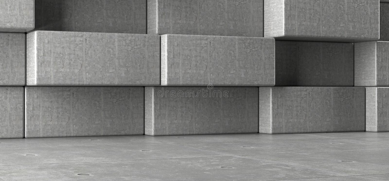 Realistiskt konkret rum med Decotarive rektangelkvarter på väggen royaltyfri illustrationer