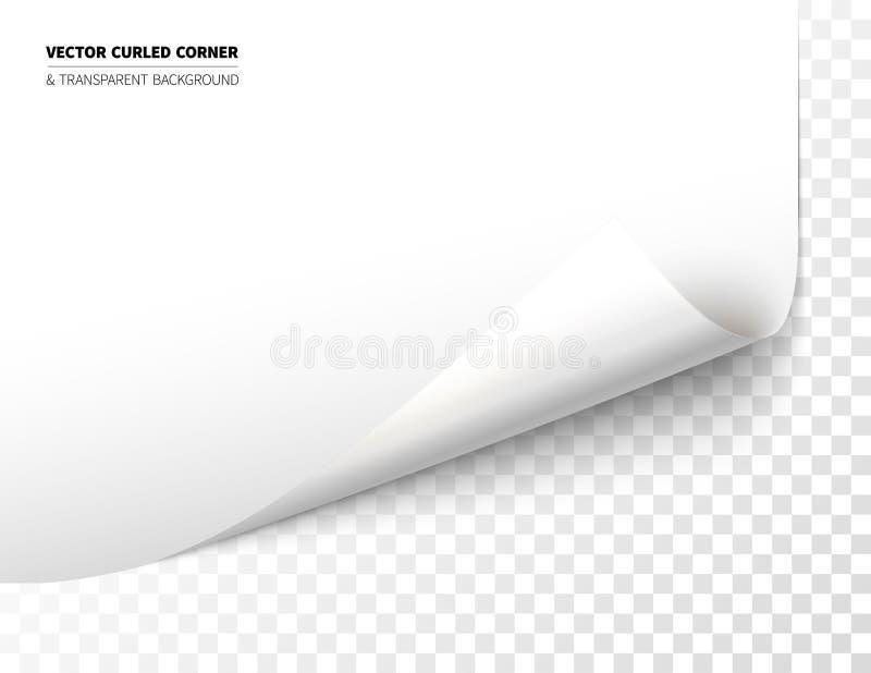 Realistiskt krullat hörn för vektor vektor illustrationer
