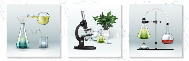 Realistiskt laboratoriumforskningbegrepp royaltyfri illustrationer