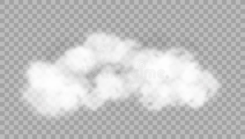 Realistiskt moln på genomskinlig bakgrund vektor illustrationer