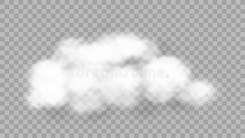 Realistiskt moln på genomskinlig bakgrund stock illustrationer