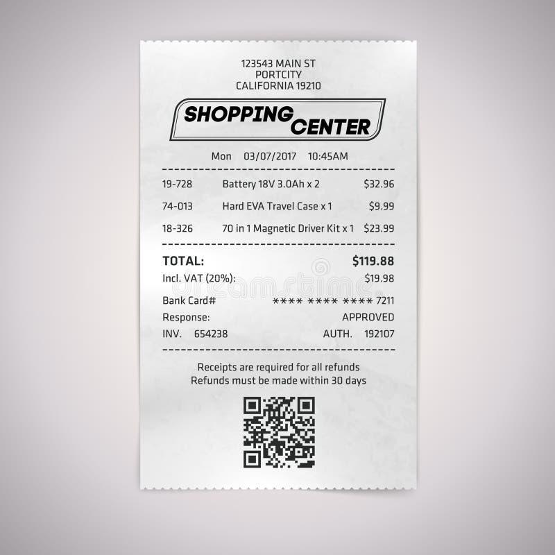 Realistiskt pappers- shoppar QR-kvittot vektor illustrationer