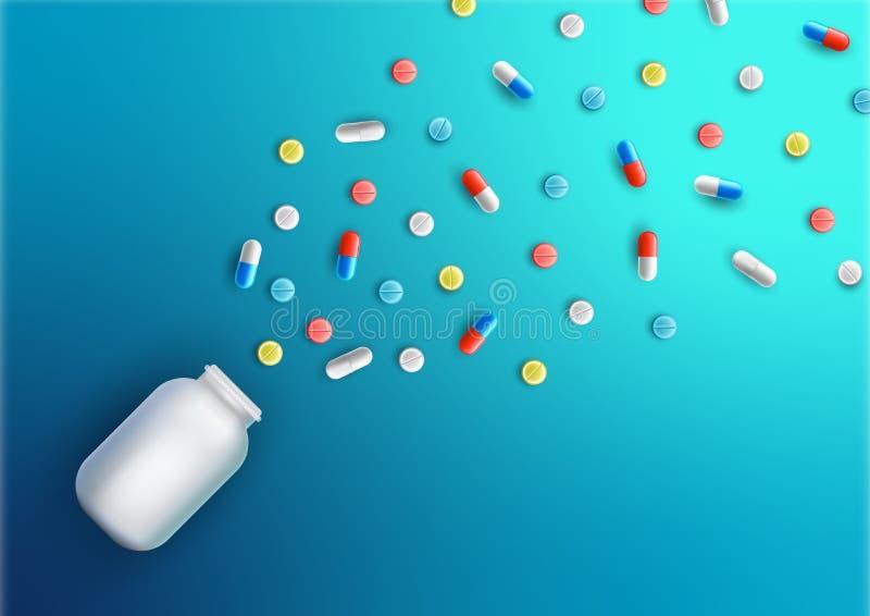 Realistiskt piller- och kapselbaner för vektor, affisch Mediciner minnestavlor, kapslar, drog med en liten flaska Hälsovårdläkaru vektor illustrationer