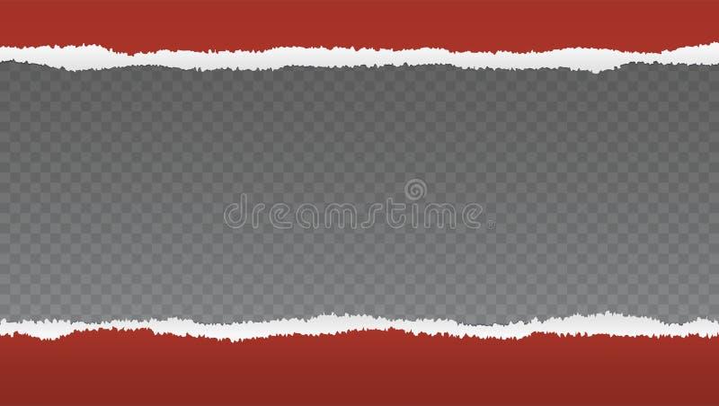 Realistiskt rött sönderrivet öppnar papper med utrymme för text på genomskinligt stock illustrationer