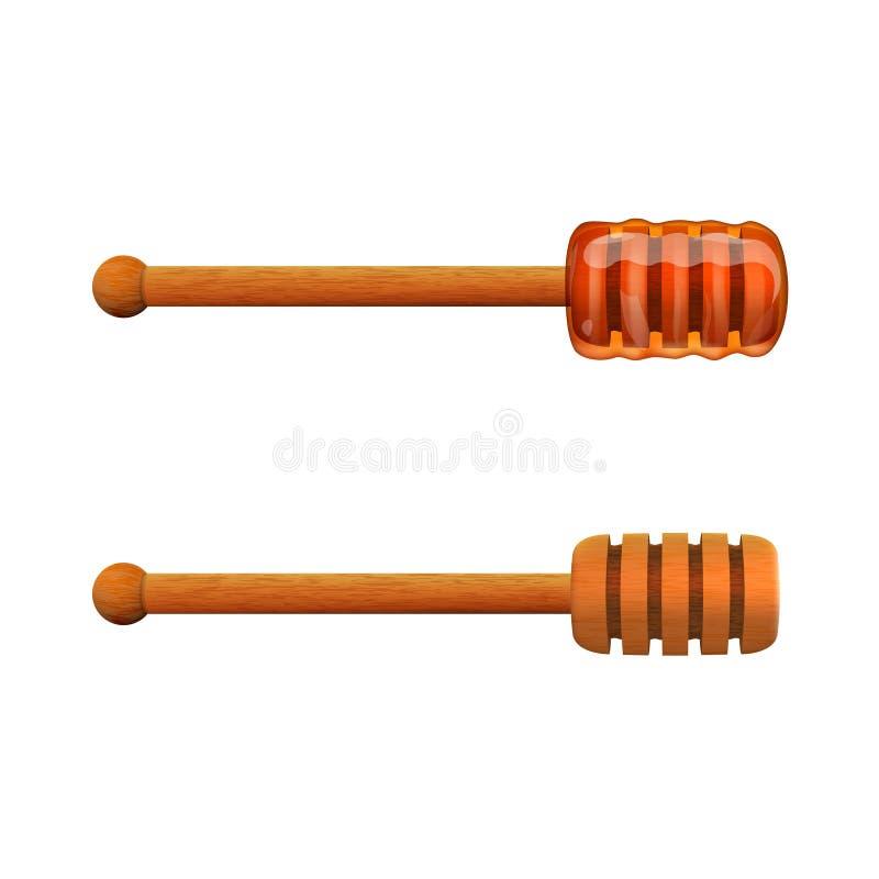 Realistiskt sött bi Honey On Wooden Stick vektor illustrationer