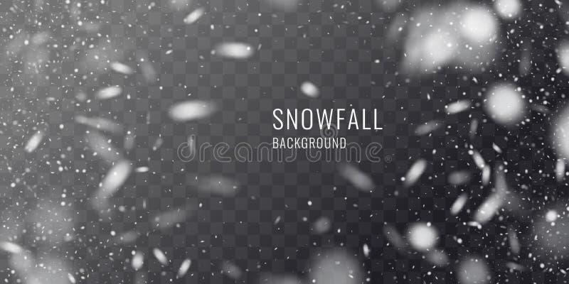 Realistiskt snöfall för vektor mot en mörk bakgrund Genomskinliga beståndsdelar för vinterkort arkivfoto