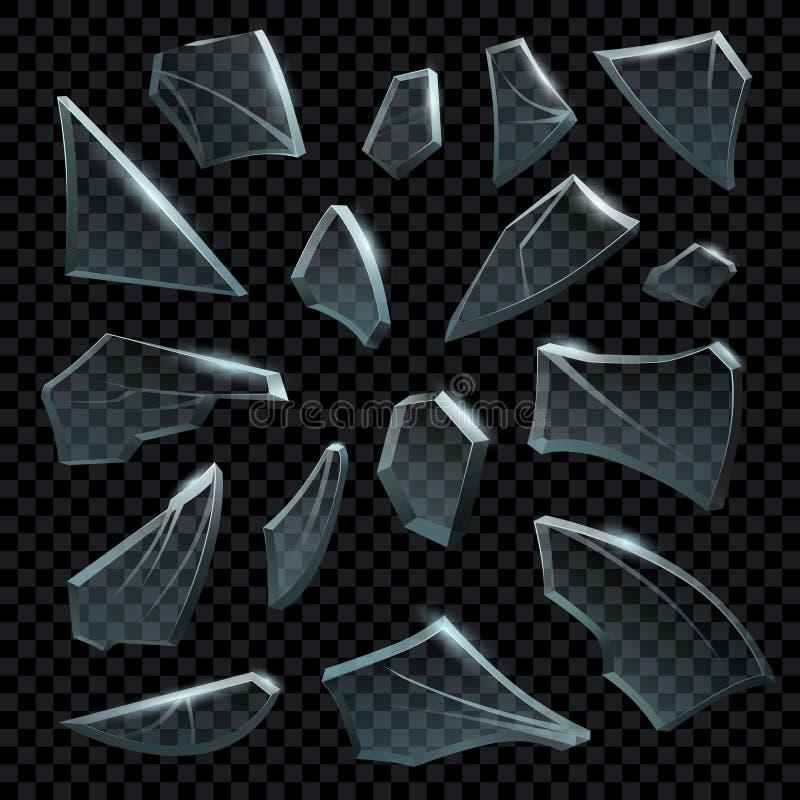 Realistiskt splittrat exponeringsglas Genomskinliga brutna stycken av det spruckna glaset Frikänden splittrar former och splittra royaltyfri illustrationer