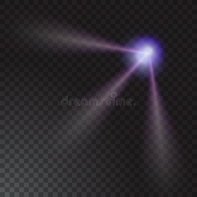 Realistiskt strålljus på genomskinlig bakgrund också vektor för coreldrawillustration stock illustrationer