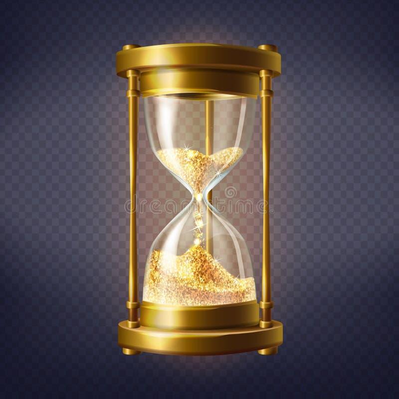Realistiskt timglas för vektor med guld- sand vektor illustrationer