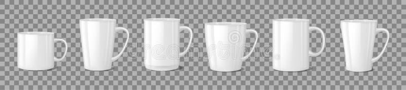 Realistiskt tomt vitt kaffe rånar koppar på genomskinlig bakgrund Isolerad koppmallmodell tekopp för frukost vektor illustrationer