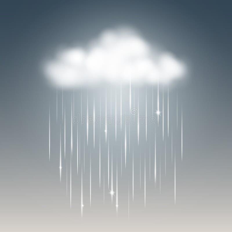 Realistiskt väder som är regnigt med molnet stock illustrationer
