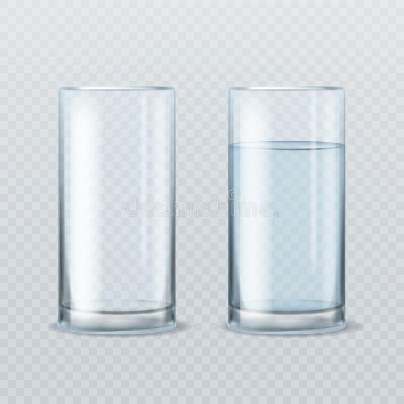Realistiskt vattenexponeringsglas Tomt och fullt av för exponeringsglasdryck för rent mineraliskt sunt vatten realistisk produkt  royaltyfri illustrationer