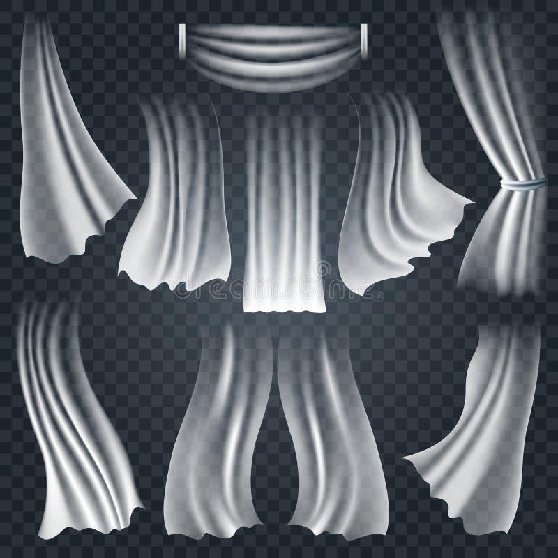 Realistiskt vita torkdukar för fladdra på genomskinligt stock illustrationer