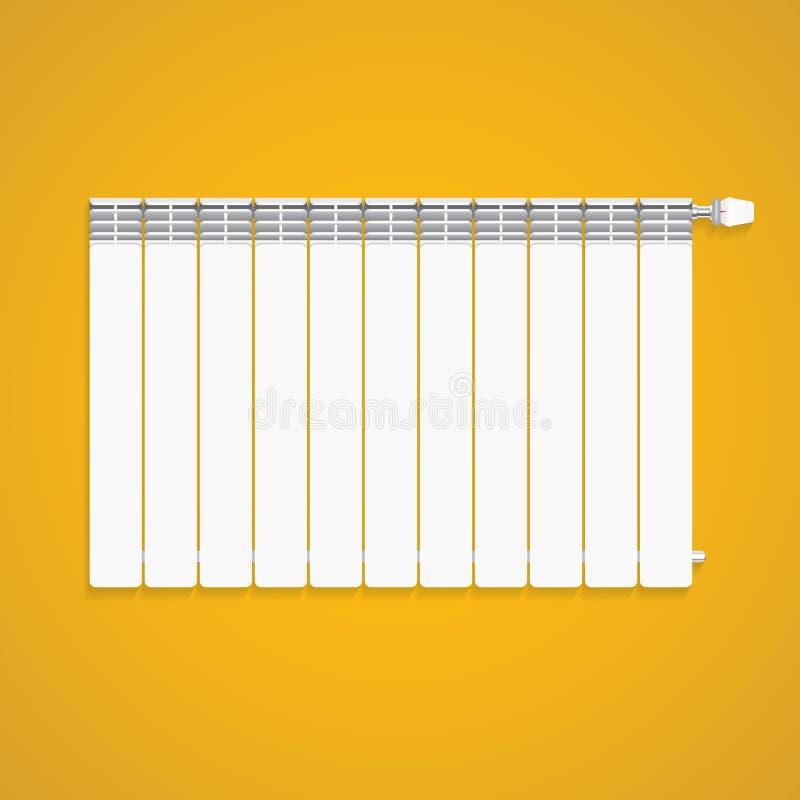 Realistiskt vitt uppvärmningelement med regulatorn på den gula väggen stock illustrationer