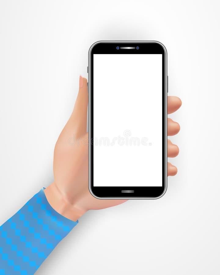 Realistyczna żeńska ręka używać czarnego smartphone z pustym ekranem odizolowywającym na białym tle Telefon komórkowy z pustym ek ilustracja wektor