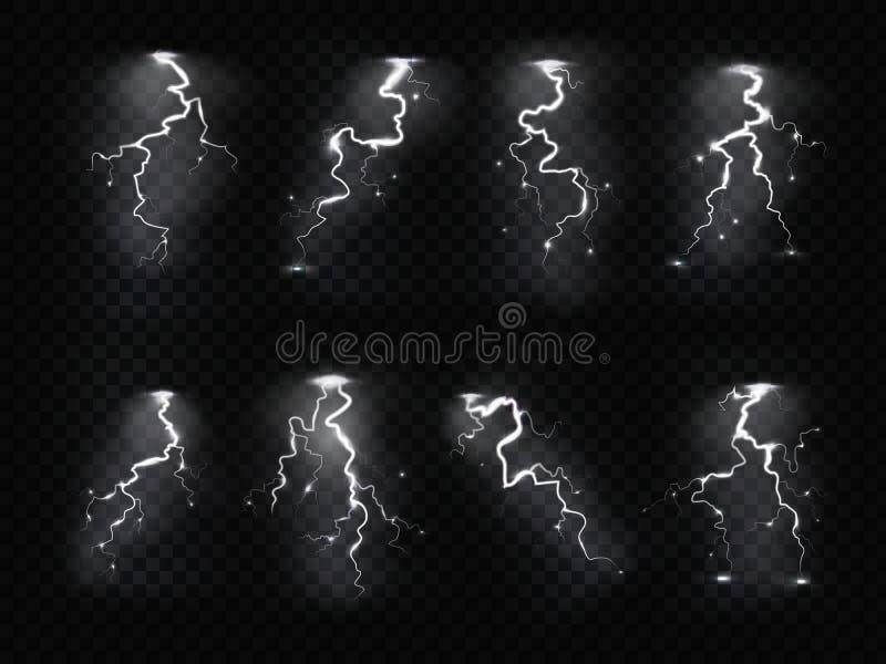 Realistyczna błyskawica Grzmot burzy elektryczności niebieskiego nieba nalotów błysku burzy burzowa ulewa Błyskawicy ustawiać royalty ilustracja