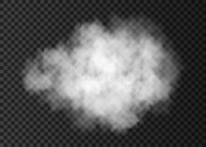Realistyczna biała dymna chmura odizolowywająca na przejrzystym tle ilustracja wektor